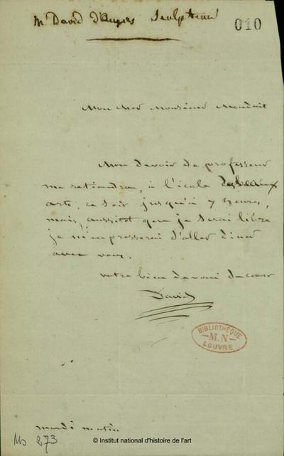 Lettre autographe signée de David d'Angers à Monduit