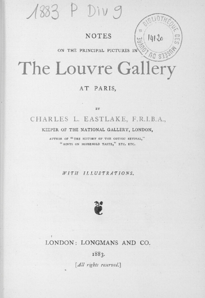 Notes on the principal pictures in the Louvre Gallery at Paris