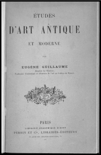 Etudes d'art antique et moderne
