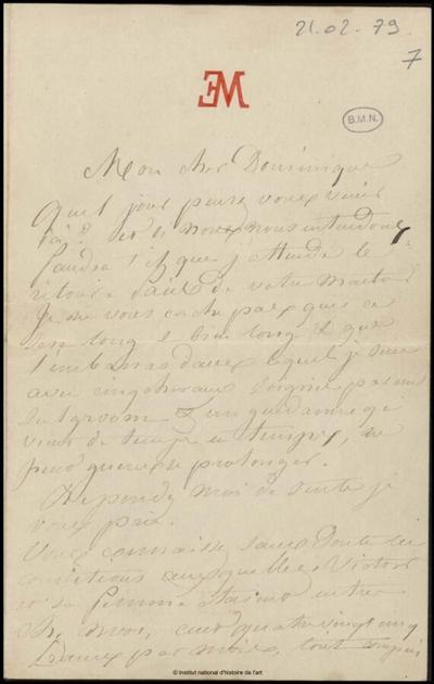 Lettre de Jean-Louis-Ernest Meissonier à Dominique, Poissy, 21 février 1879