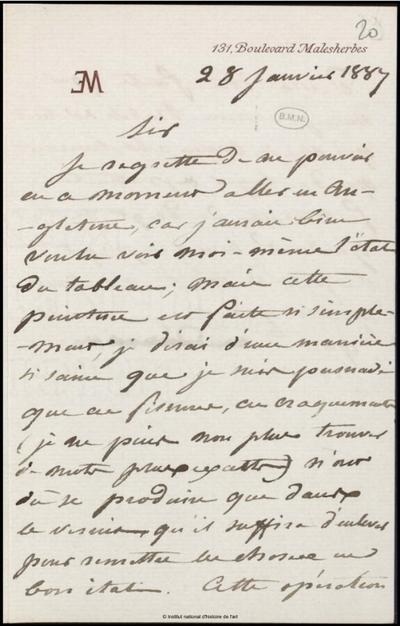 Lettre de Jean-Louis-Ernest Meissonier, Paris, 28 janvier 1887