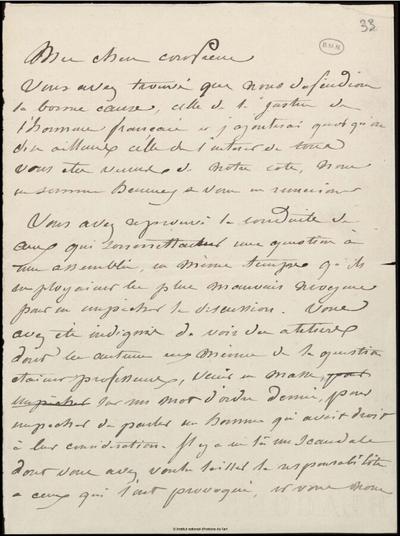 Lettre de Jean-Louis-Ernest Meissonier à un confrère, [s.d.]