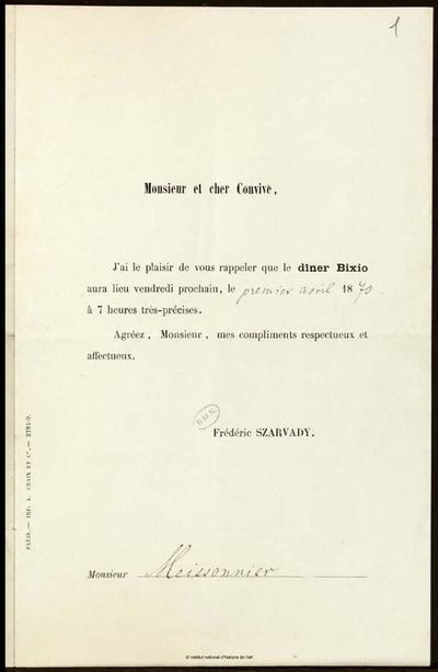 Papiers personnels de Jean-Louis-Ernest Meissonier