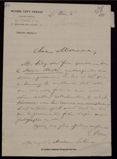 Lettre autographe signée de Ernest Renan à Adam Salomon