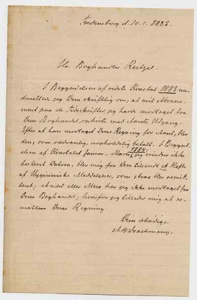 [Letter] 1885-01-10, Fredensborg [to] Carl Valdemar Reitzel [to] Christian Frederik Theodor Reitzel
