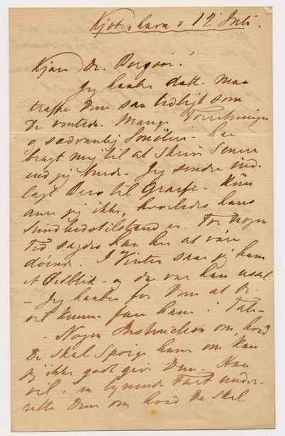 [Letter] 1911, København [to] Joergen Vilhelm Bergsøe