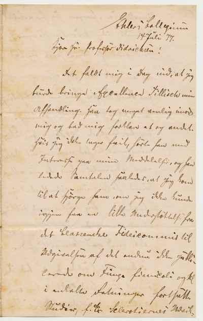 [Letter] 1877-07-14, Ehlers kollegium