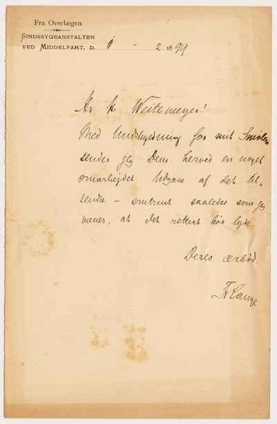 [Letter] 1899-02-01, Middelfart [to] Harald Sophus Leonard Weitemeyer