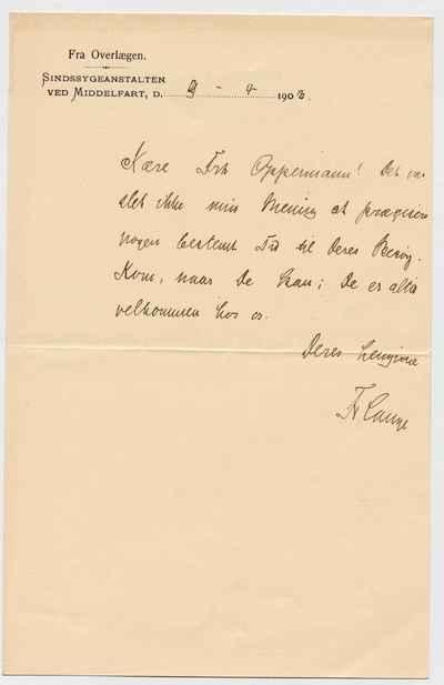 [Letter] 1909-04-09, Middelfart