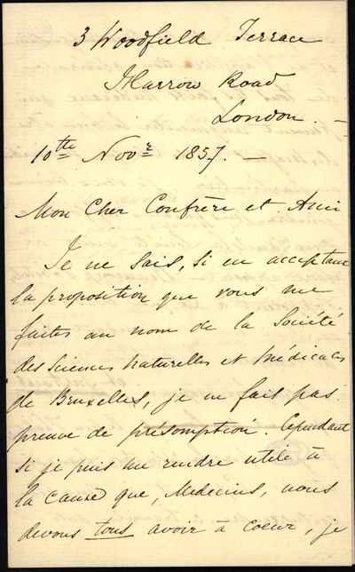 [Letter] 1857-11-10, London