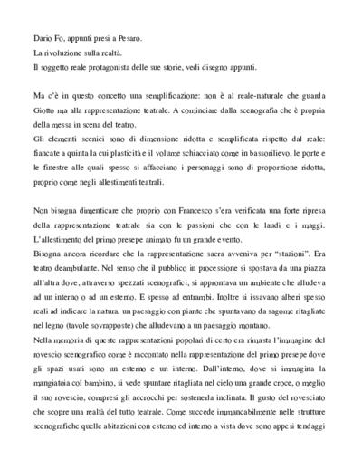 Appunti Giotto non Giotto: Lezione-spettacolo di Dario Fo  2009