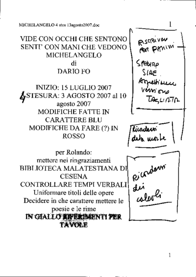 Copioni Michelangelo Buonarroti: lezione-spettacolo di Dario Fo  2007