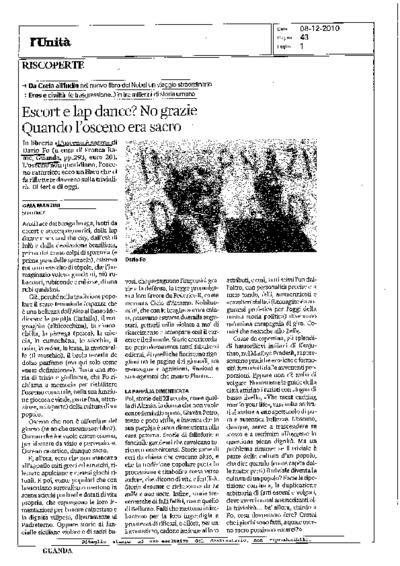 Articoli L'osceno e sacro - 2010 <br>Testo di Dario Fo a cura di Franca Rame