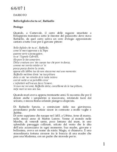 """Testi Raffaello Sanzio: """"Bello figliolo che tu se"""" - 2006 Lezione-spettacolo di e con Dario Fo"""