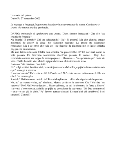 Testi Il Teatro in Italia raccontato da Giorgio Albertazzi e Dario Fo - Rai 2 - 2005
