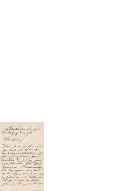 Brev, 1904 01.11, Stockholm, til Edvard Grieg