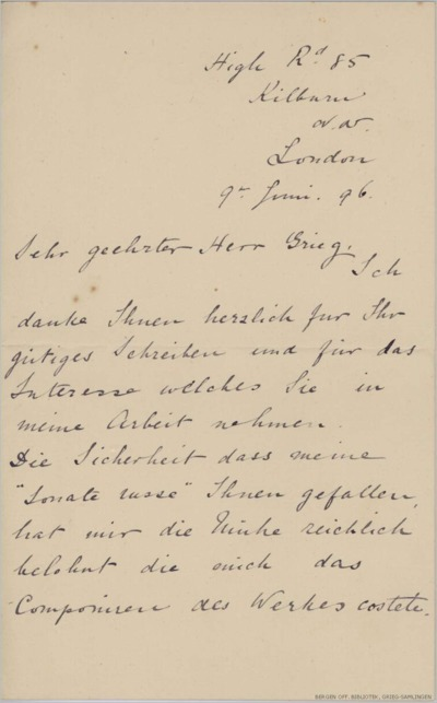Brev, 1896 06.09, London, til Edvard Grieg