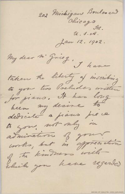 Brev, 1902 01.12, Chicago, til Edvard Grieg