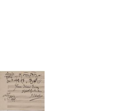 [Noteskisse]; Brev, 1879 01.03, Leipzig, til Edvard Grieg