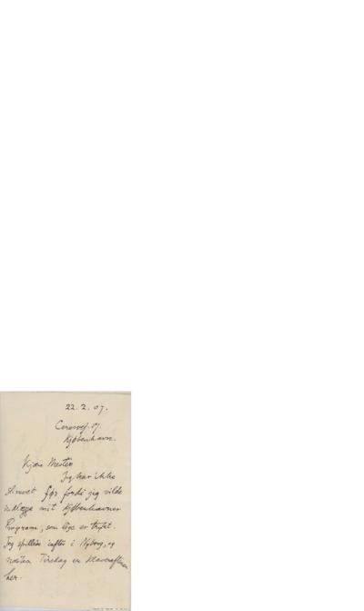 Brev, 1907 02.22, København, til Edvard Grieg