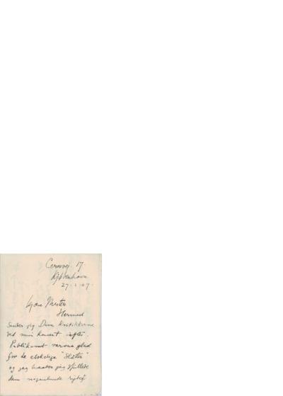 Brev, 1907 02.27, København, til Edvard Grieg