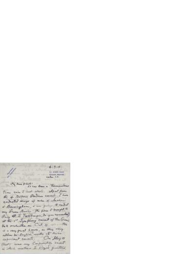 Brev, 1912 07.04, London, til Nina Grieg