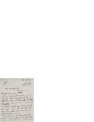 Brev, 1912 09.02, London, til Nina Grieg