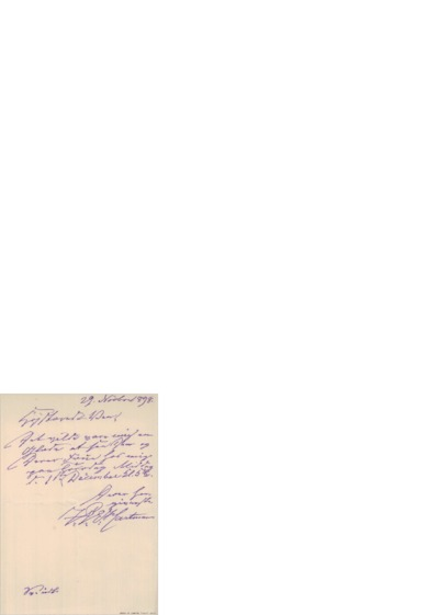 Brev, 1898 11.29, Edvard Grieg
