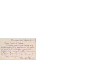 Visittkort, 1888 04.04, München, til Edvard Grieg