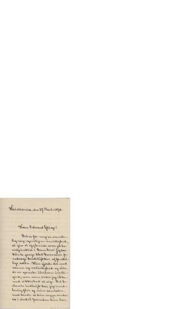 Brev, 1894 03.27, Kristiania, til Edvard Grieg