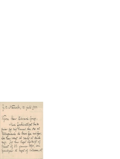 Brev, 1903 07.13, Narvik, Edvard Grieg