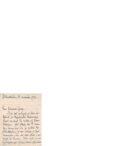 Brev, 1903 11.15, Stockholm, Edvard Grieg