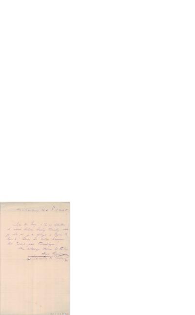 Brev, 1885 11.10, Marstrandsvej, til Edvard Grieg