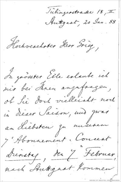 Brev, 1888 01.20, Stuttgart, til Edvard Grieg