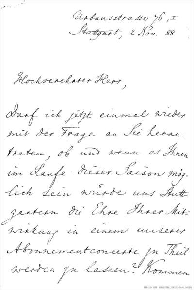 Brev, 1888 11.02, Stuttgart, til Edvard Grieg