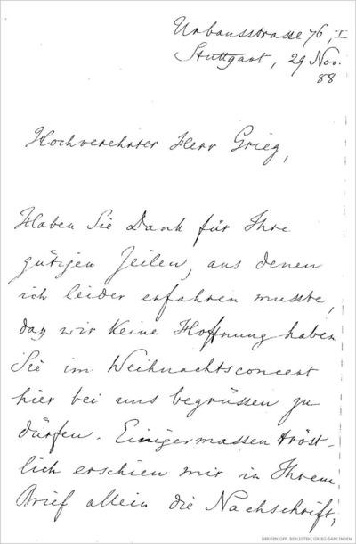 Brev, 1888 11.29, Stuttgart, til Edvard Grieg