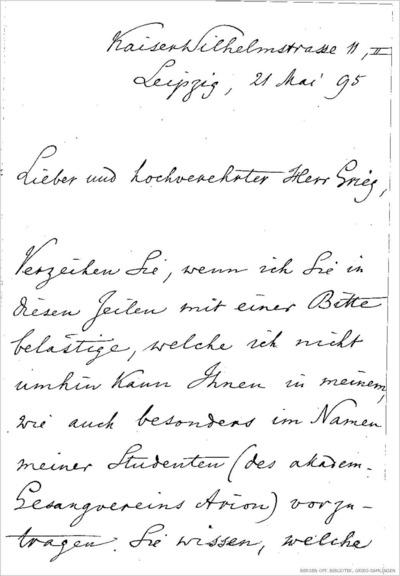 Brev, 1895 05.21, Leipzig til Edvard Grieg