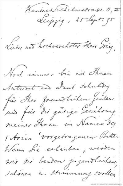 Brev, 1895 09.25, Leipzig, til Edvard Grieg