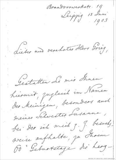 Brev, 1903 06.13, Leipzig, til Edvard Grieg