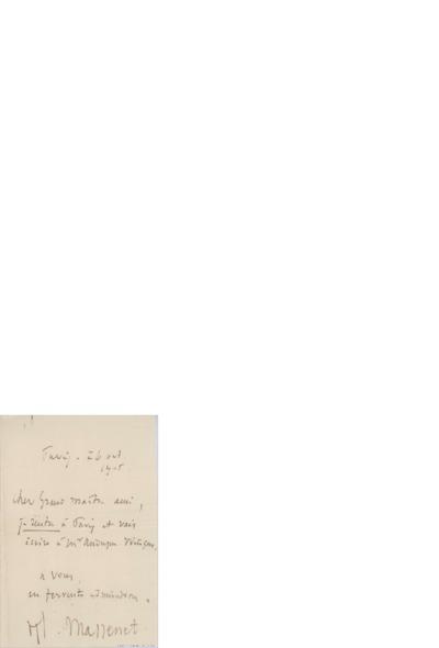 Brev, 1905 08.26, Paris?, til Edvard Grieg