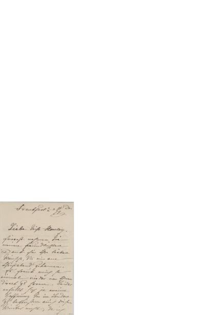 [Anbefaling av Edvard Grieg]; Brev, 1879 12.25, Frankfurt, til Miss Horsley, für anfragen bei Herrn A. Burnand