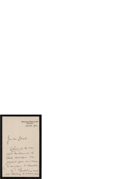 Brev 1901 10.31, Bruxelles til Edvard Grieg