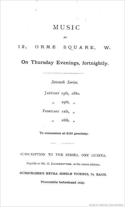 Music: at 12, Orme Square, W. : seventh series; Instrumental pieces for January 29th, February 12th and 26th; Konsertprogram - London 1880 01.29