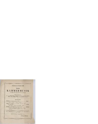 Erste Kammermusik im Saale des Gewandhauses zu Leipzig; Konsertprogram - Leipzig 1883 10.27