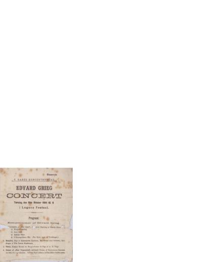 Edvard Grieg Folkekoncert i Logens Festsal; Konsertprogram - Bergen, 1894 10.16, 10.18, 10.20, 10.21