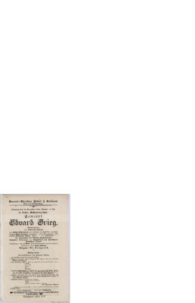 Concert Edvard Grieg. Grosser Musikvereins-Saal; Konsertprogram - Wien 1896 12.19