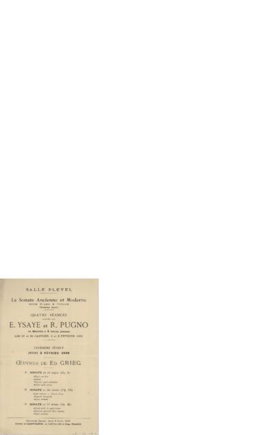 La sonate ancienne et moderneTroisième séance: pour piano & violon : Salle Pleyel; Oeuvres de Ed. Grieg; Konsertprogram - Paris 1899 02.02