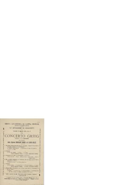 Concerto Grieg ; diretto dall'Autore con concorso della signora Bergliot Ibsen et di Luigi Gulli; Konsertprogram - Roma 1899 04.03