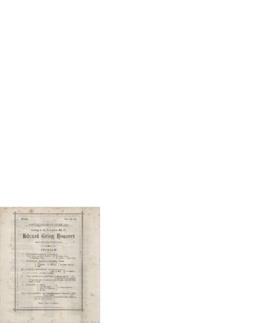 Edvard Grieg Koncert: Koncert-Palæets store Sal; Konsertprogram - København 1899 11.18