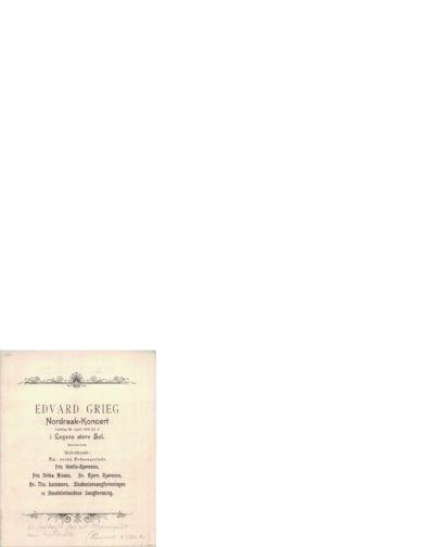Nordraak-Koncert: i Logens store Sal; Konsertprogram - Kristiania 1900 04.28